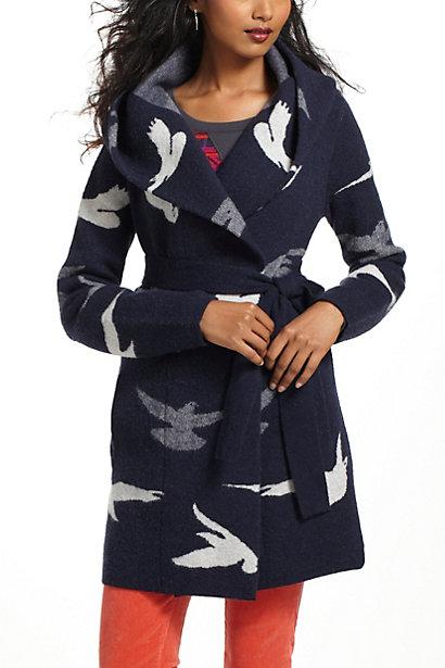 anthro bird sweater coat